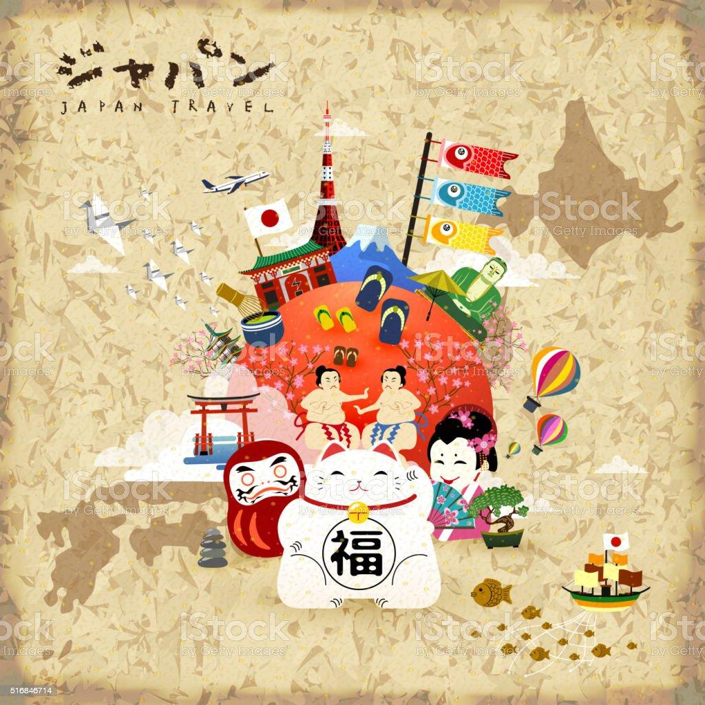 Japan travel poster vector art illustration