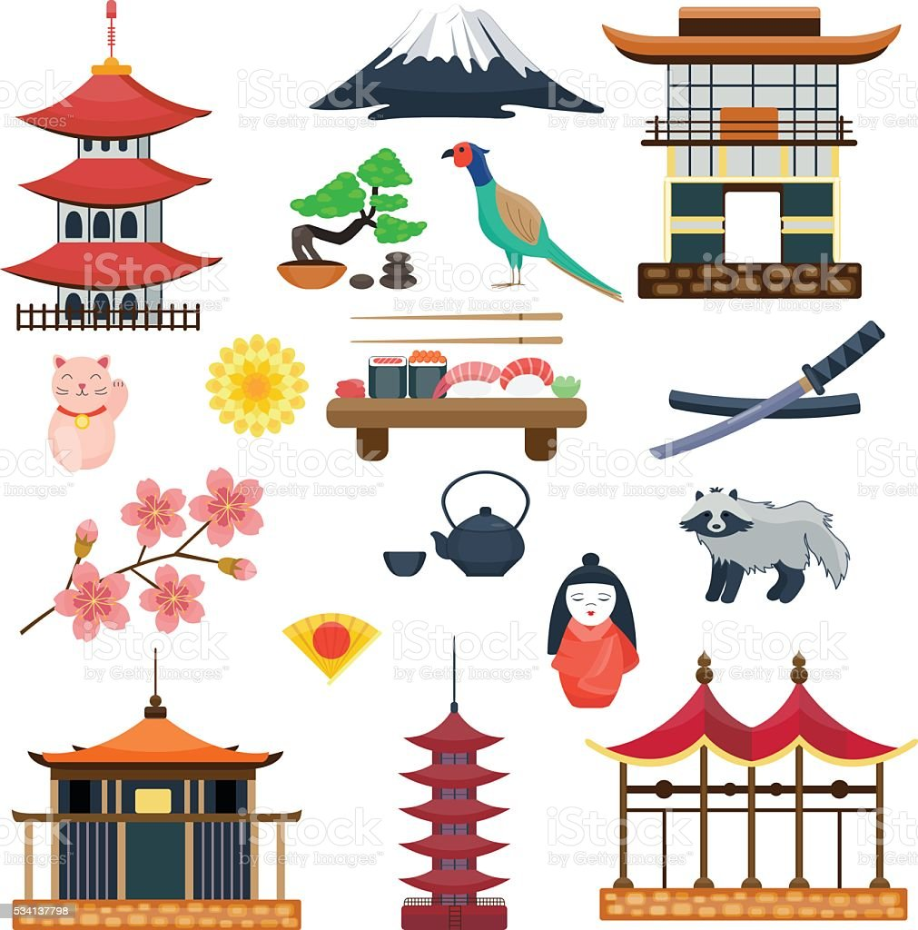 Japan vector collection. Japanese traditional symbols culture vector art illustration