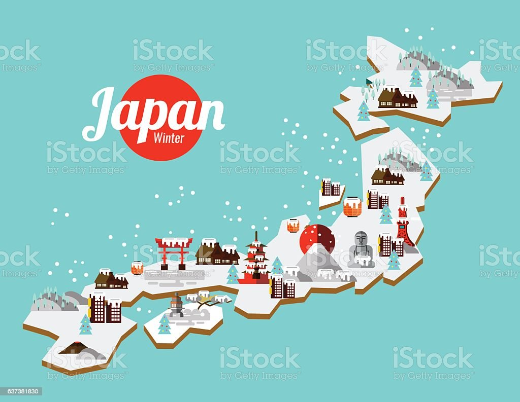 Japan Winter landmark and travel map. vector art illustration