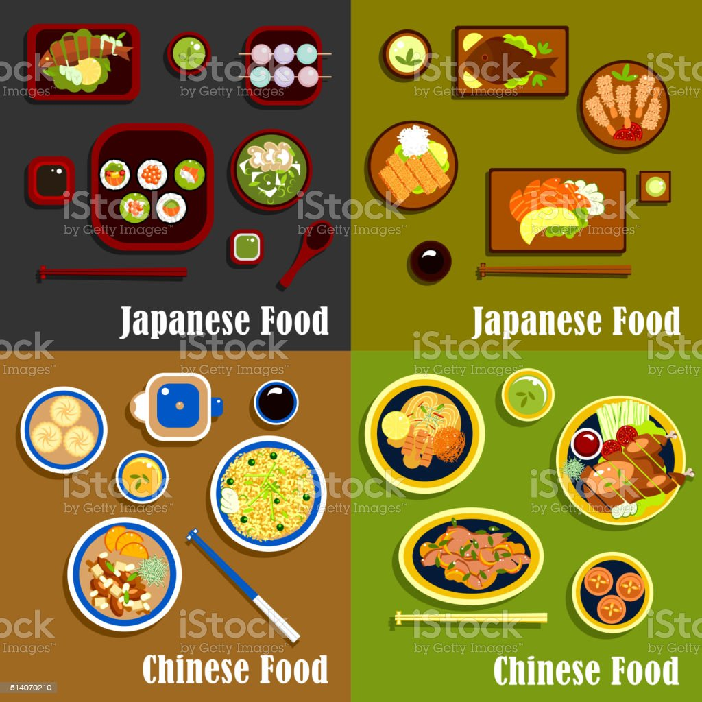 Japanese and chinese cuisine menu vector art illustration