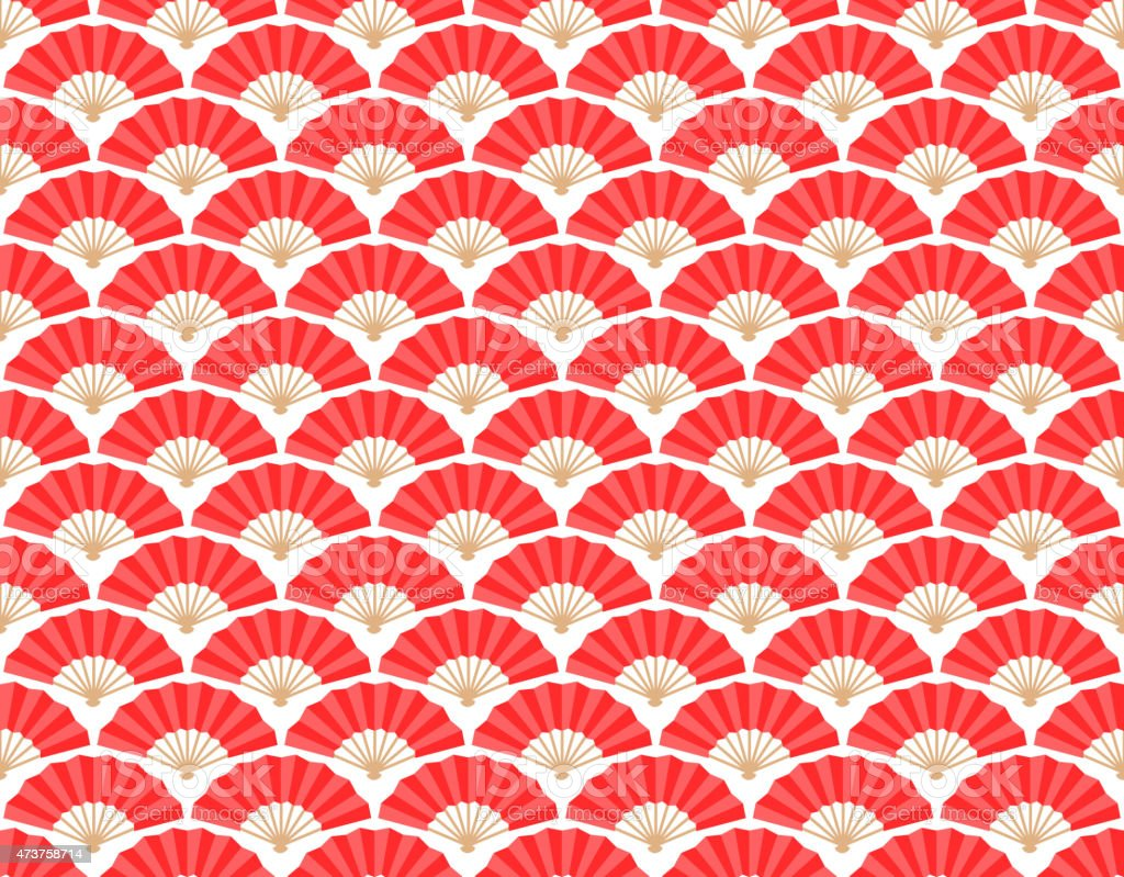 Japanese and Chinese Fans Seamless Pattern vector art illustration