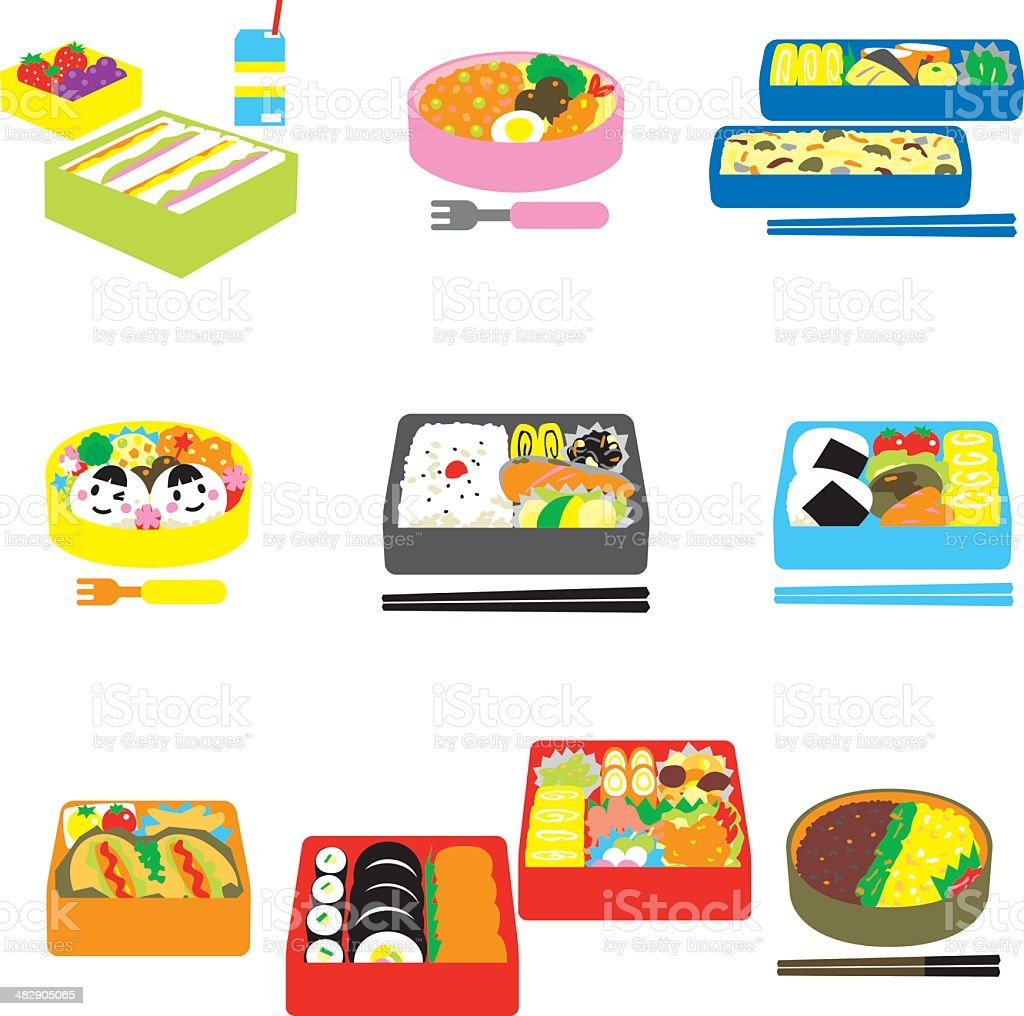 Japanese BENTO, box lunch, bento box vector art illustration