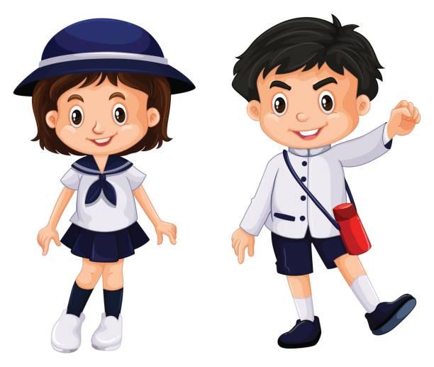Clip Art Of A Japanese Boy Wearing School Uniform Clip Art ...