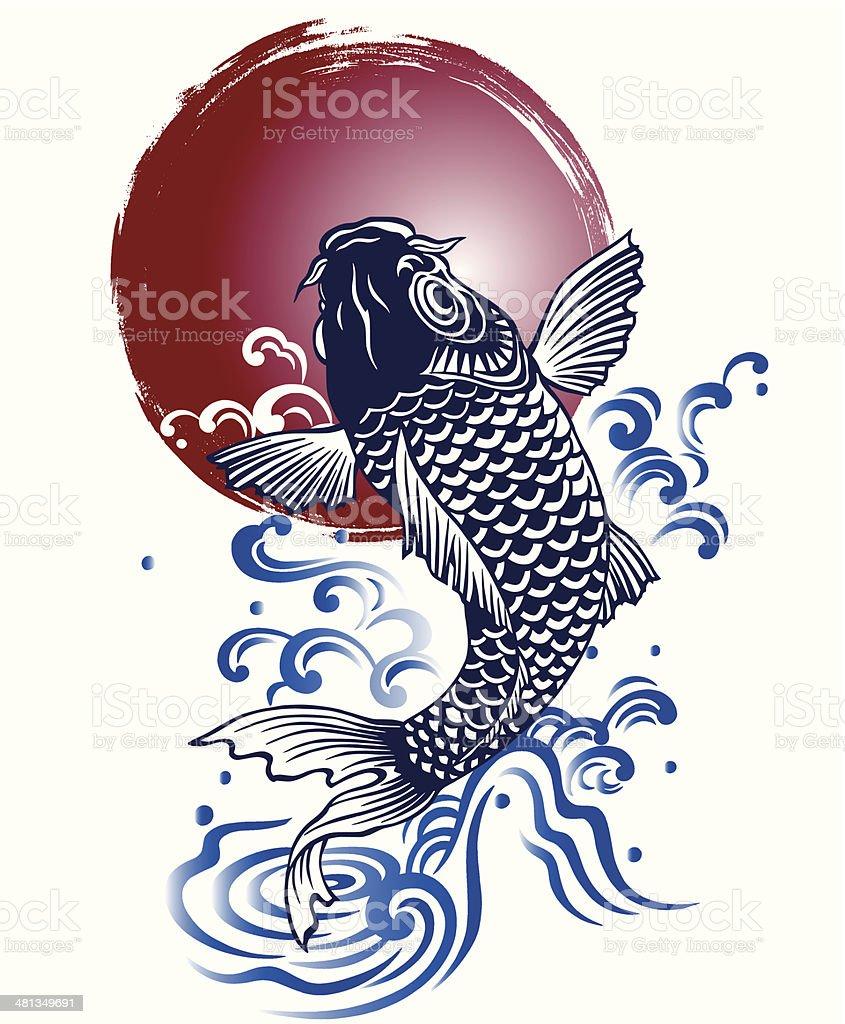 japanese carp vector art illustration