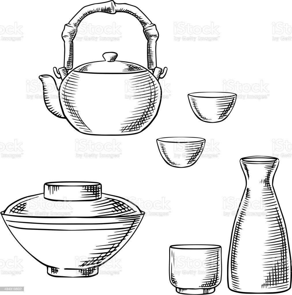 Japanese ceramic tableware sketch icons vector art illustration