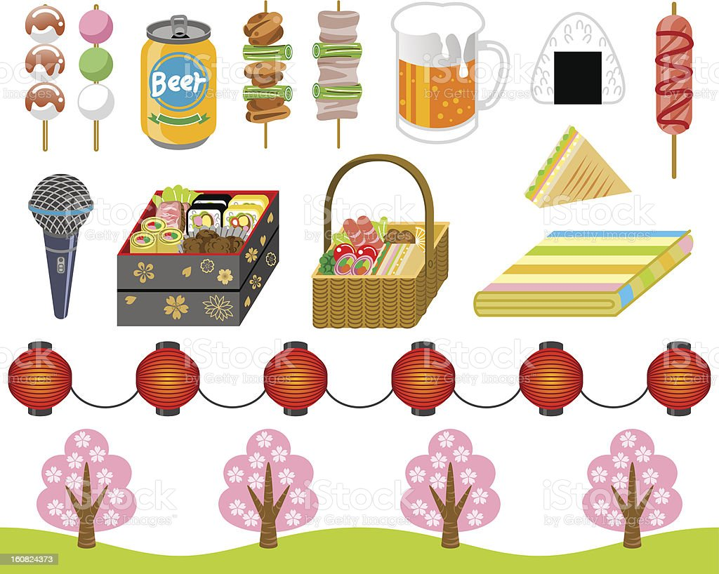 Japanese cherry-blossom viewing goods ,icon set vector art illustration