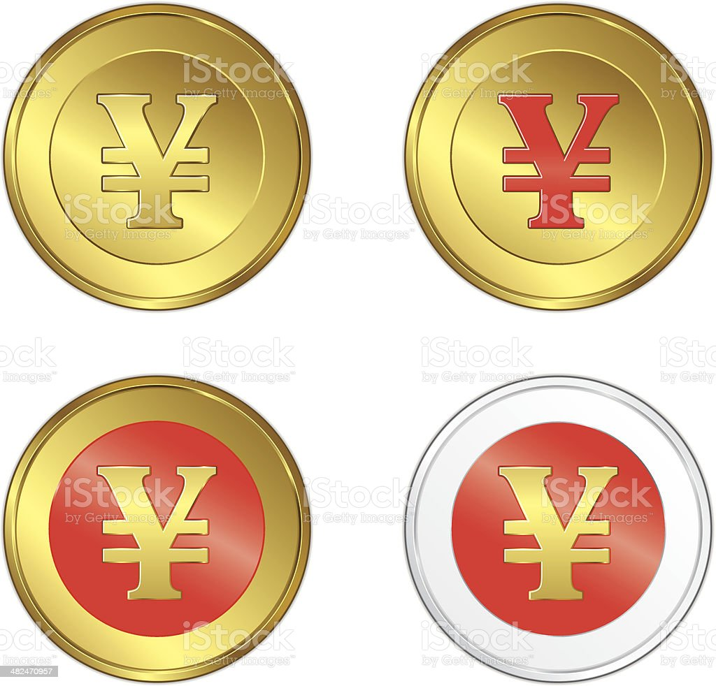 Japanese coin yen royalty-free stock vector art