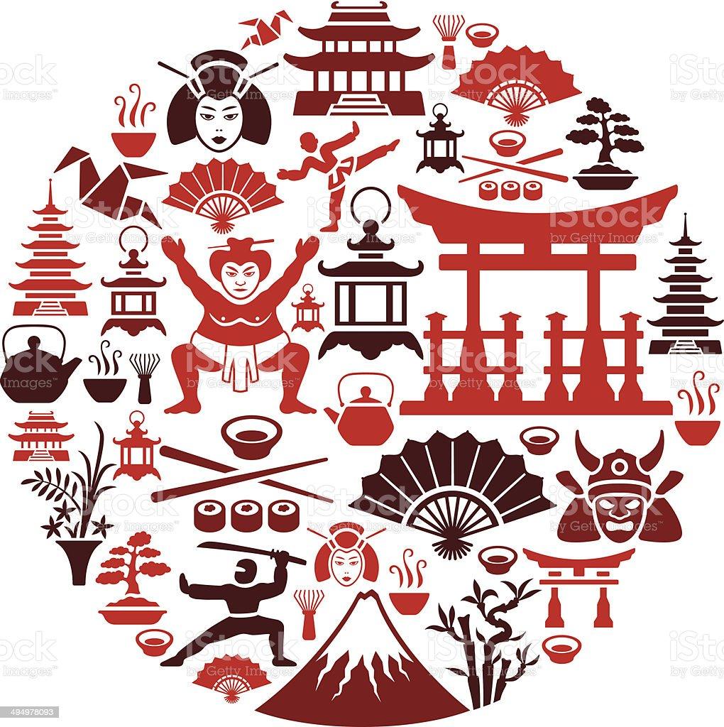 Japanese Collage vector art illustration
