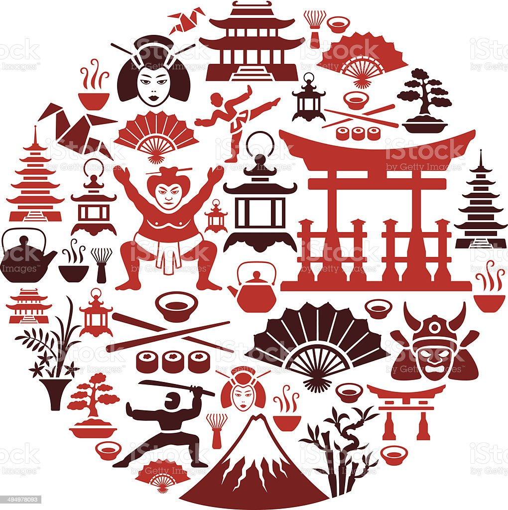 Japanese Collage vector art illustration