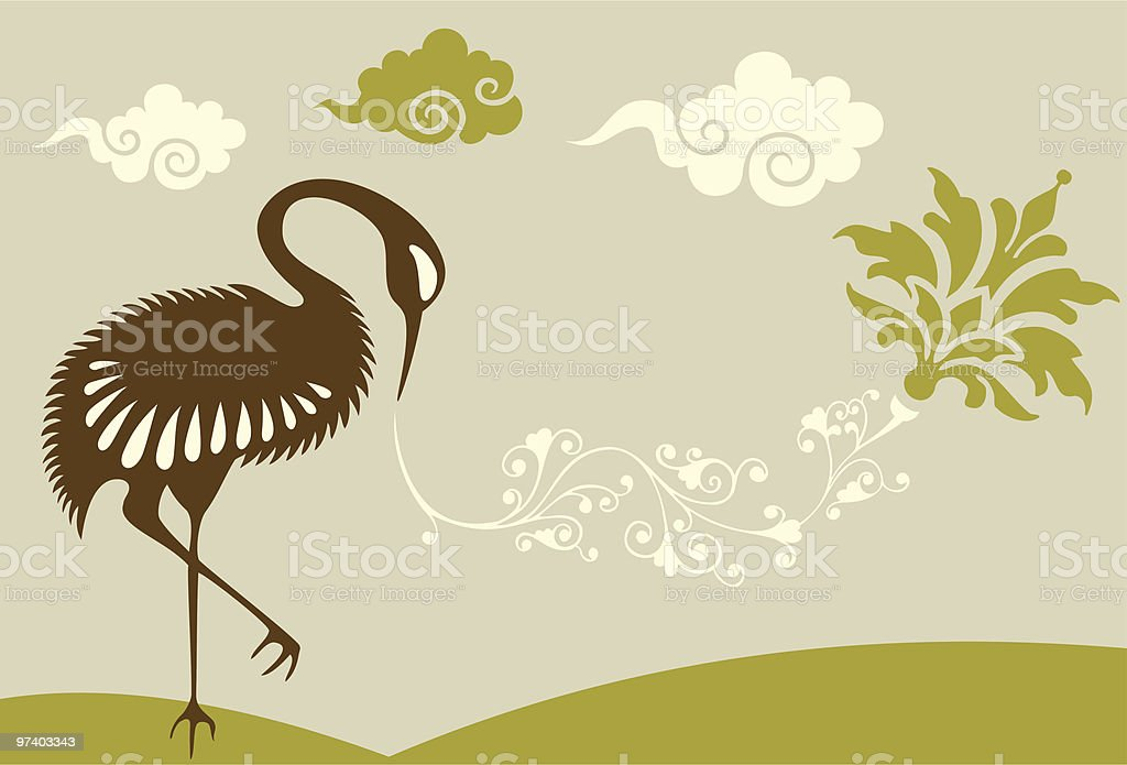 Japanese Crane, Plant & Clouds royalty-free stock vector art