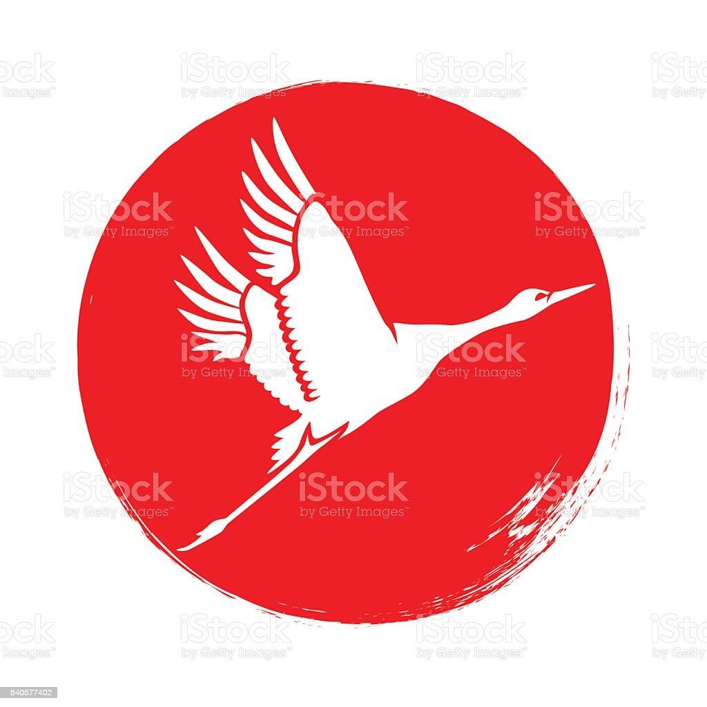 Japanese crane silhouette. Vector. vector art illustration
