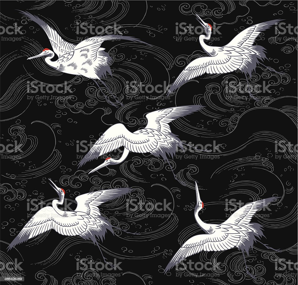 japanese crane vector art illustration