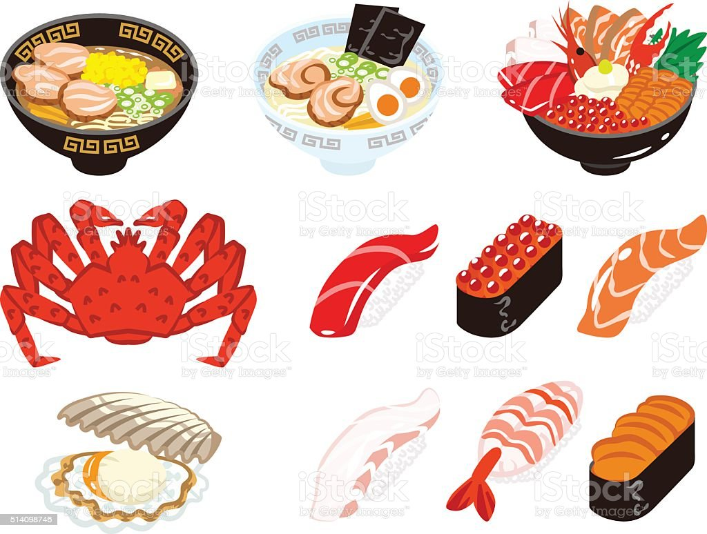 Japanese Cuisine and Seafood set vector art illustration