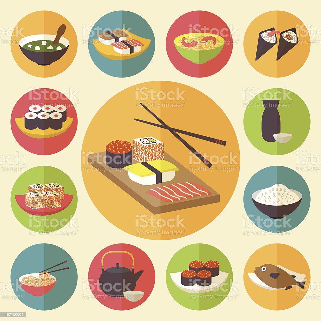 Japanese cuisine, food icons set vector art illustration