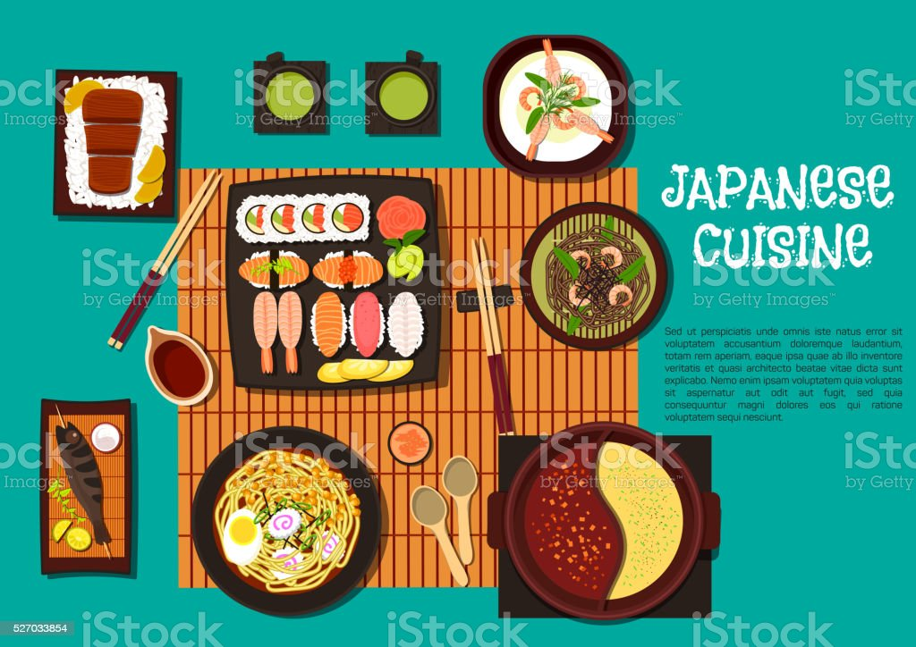 Japanese cuisine seafood dishes with hot pot icon vector art illustration