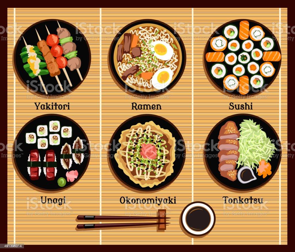 Japanese Cuisine Set Dishes Flat Style vector art illustration
