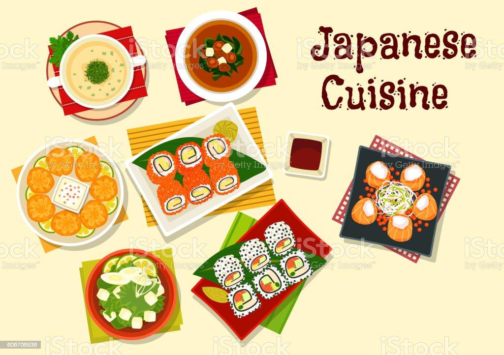 Japanese cuisine sushi and soups for dinner menu vector art illustration