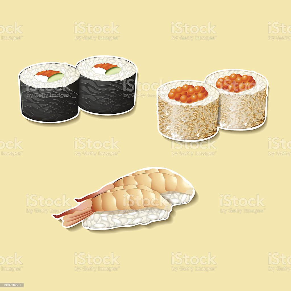 japanese cuisine, sushi with fish, roe vector art illustration