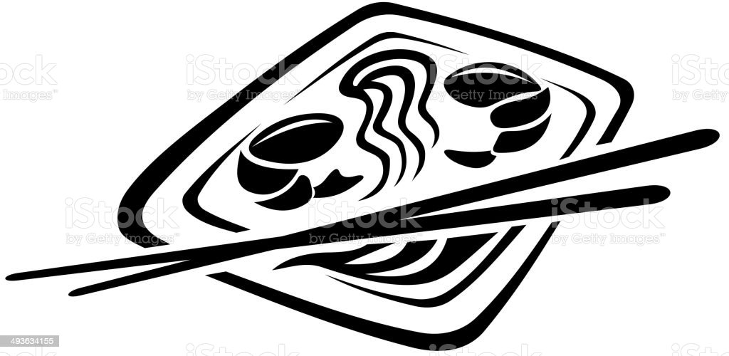 Japanese cuisine vector art illustration