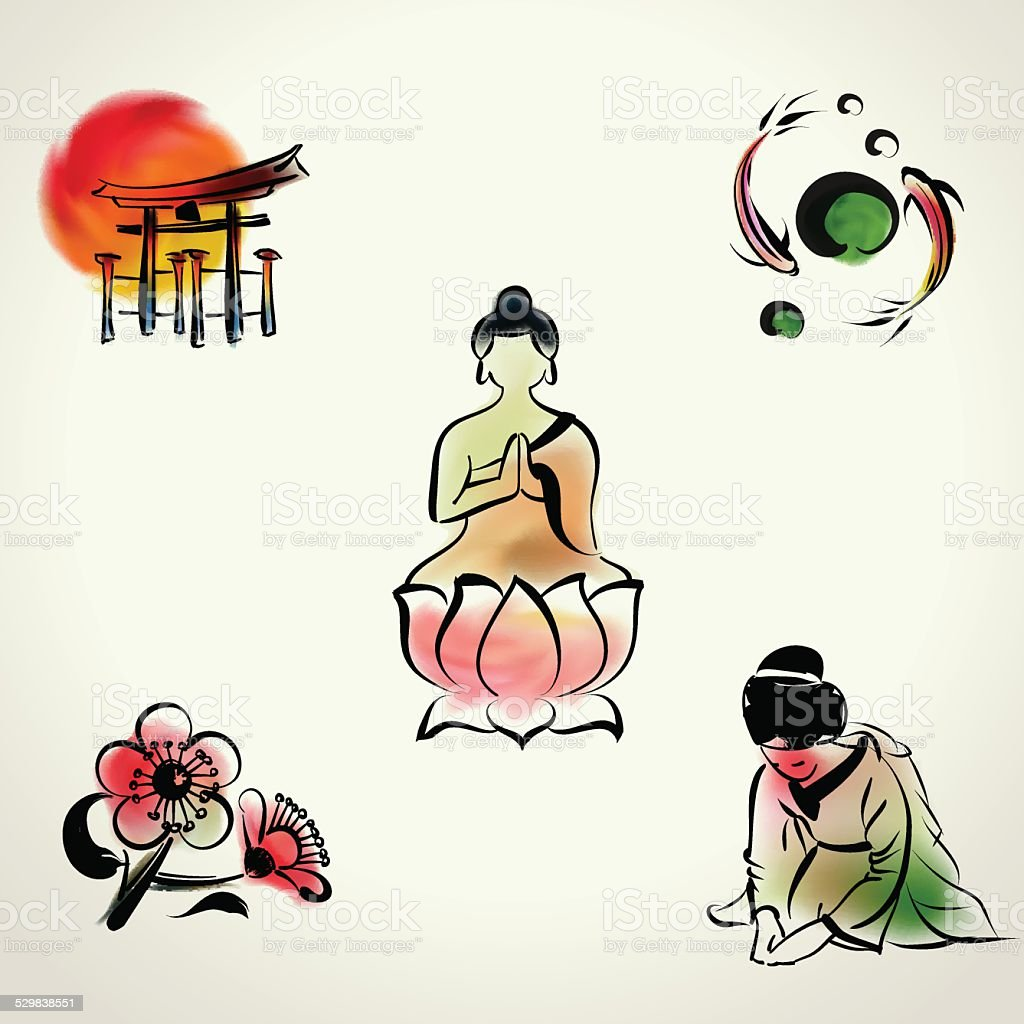 Japanese cultural icon with watercolor style vector art illustration