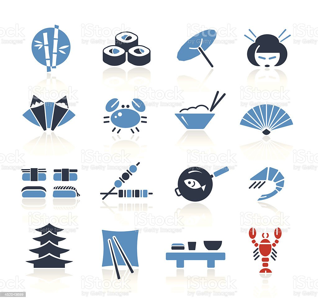 Japanese Culture & Food - Two Colors | Pro Series vector art illustration