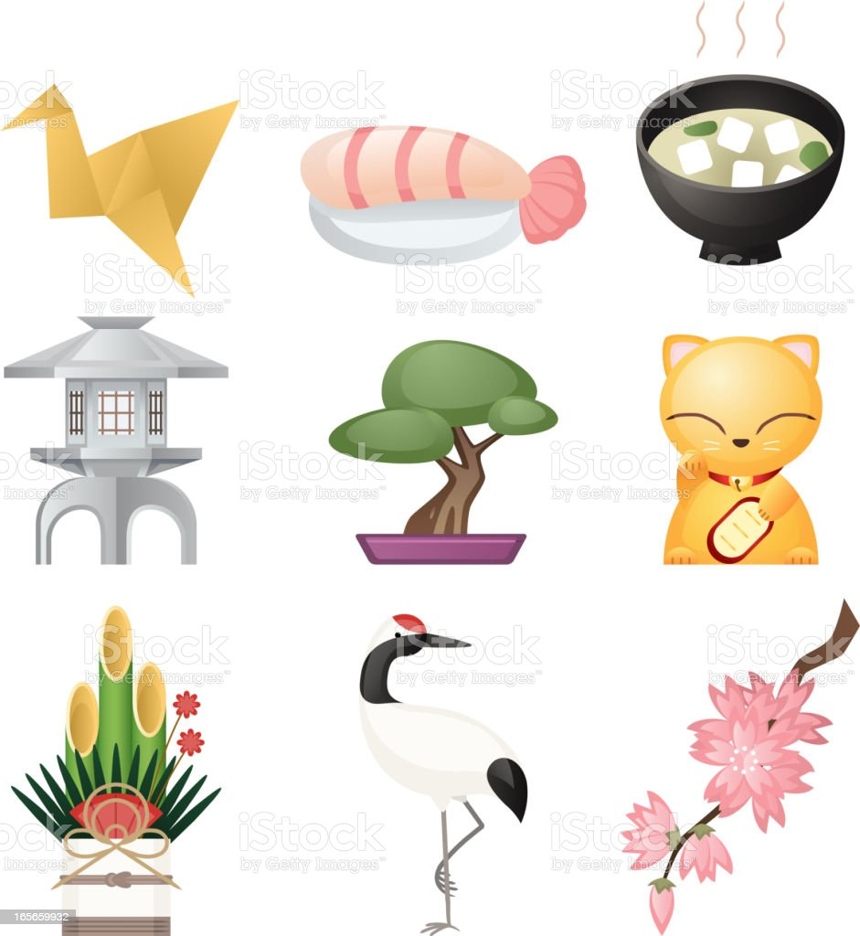 Japanese culture icon set cultural elements royalty-free stock vector art