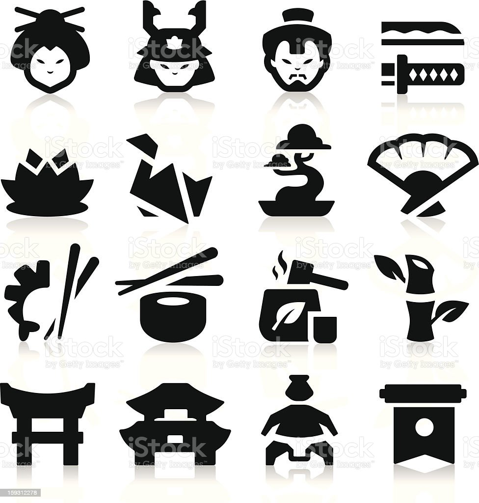 Japanese Culture Icons royalty-free stock vector art