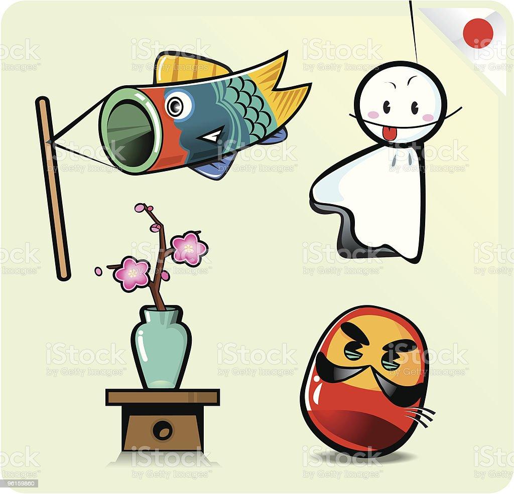 Japanese cute cartoon vector art illustration