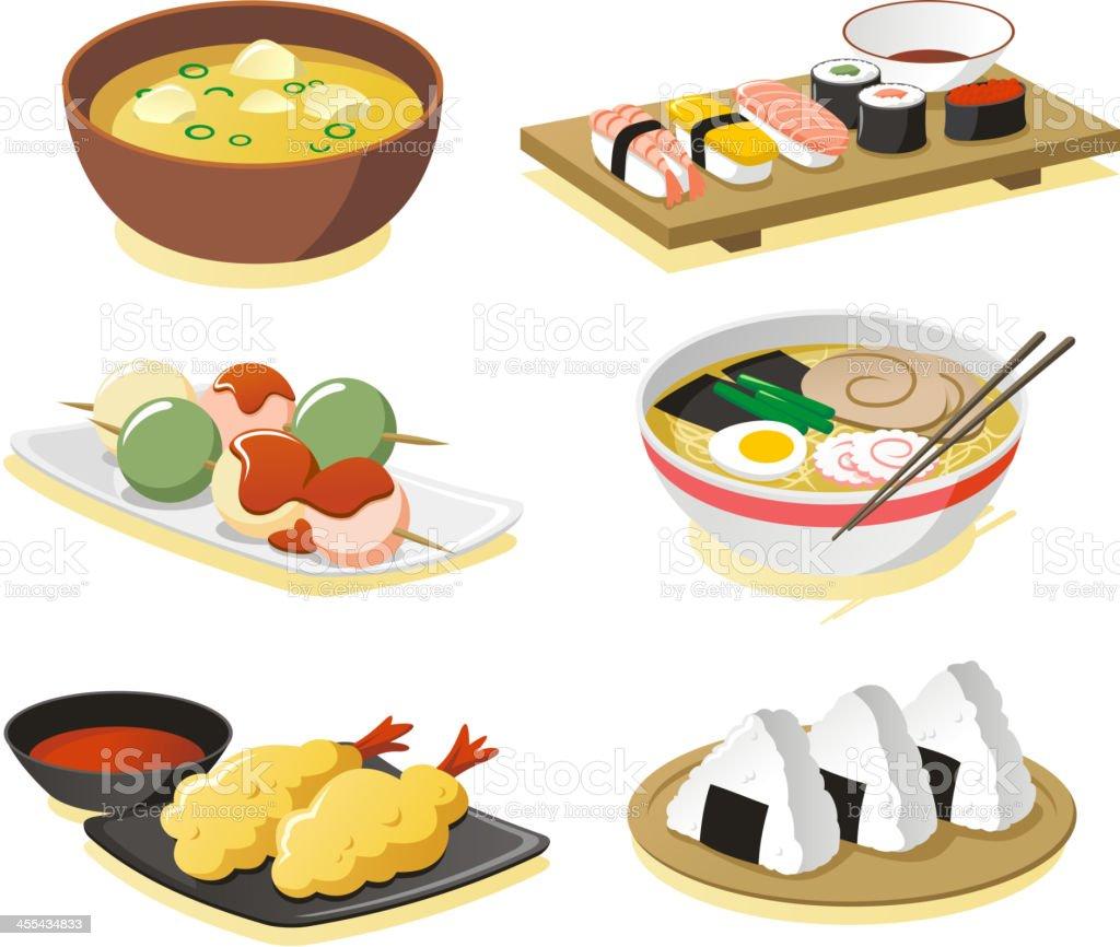 Japanese dishes vector art illustration