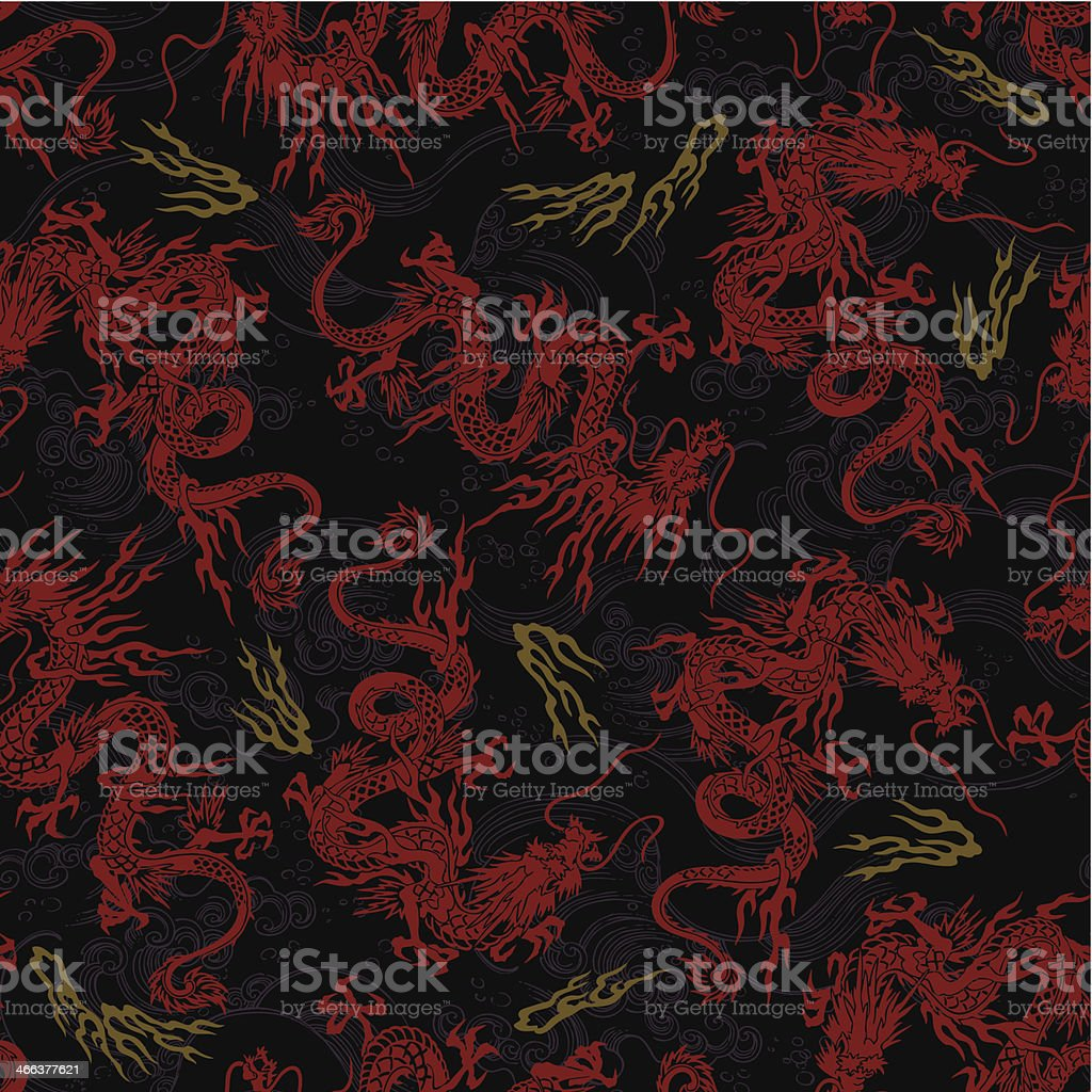 Japanese dragon pattern, vector art illustration