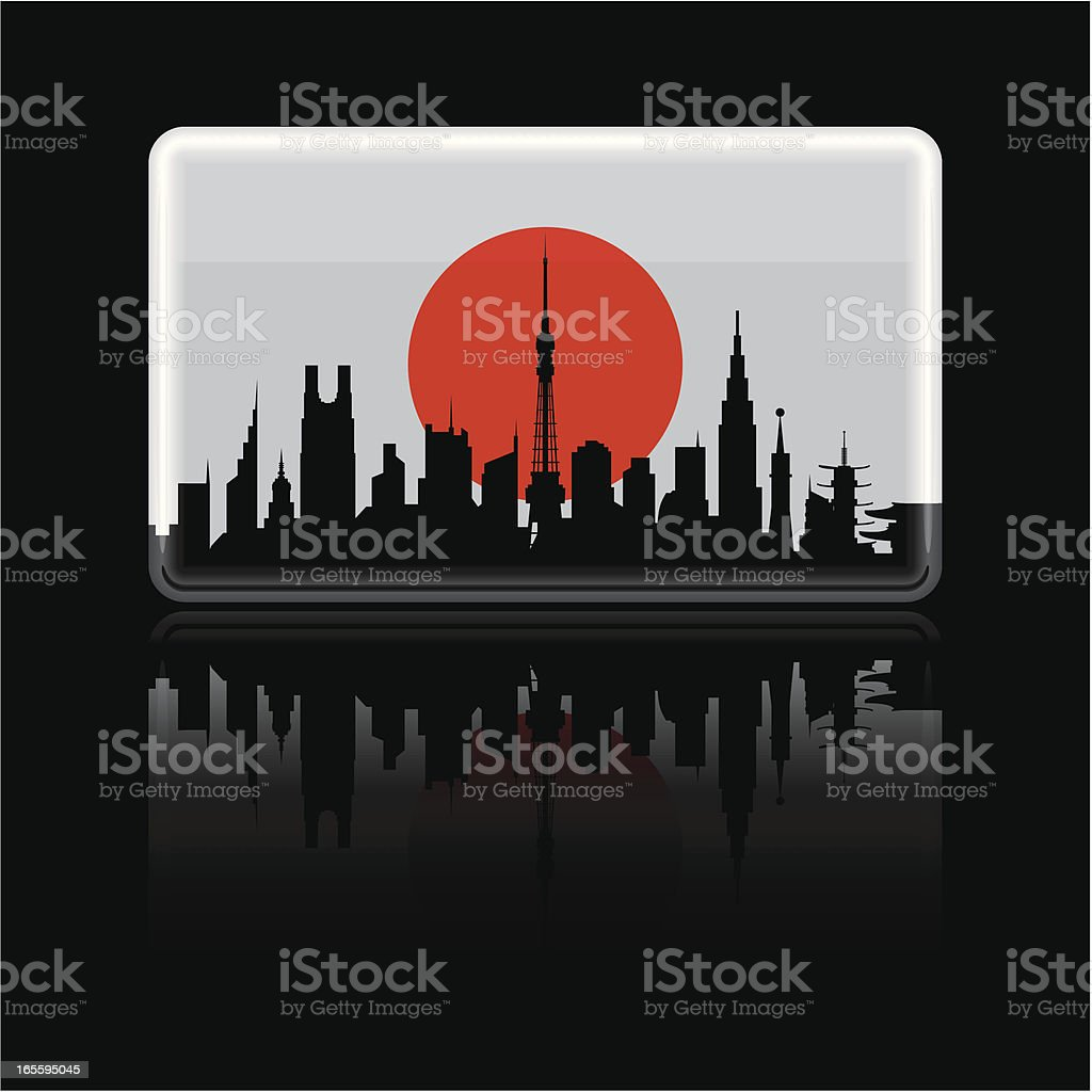 Japanese Flag on Black royalty-free stock vector art