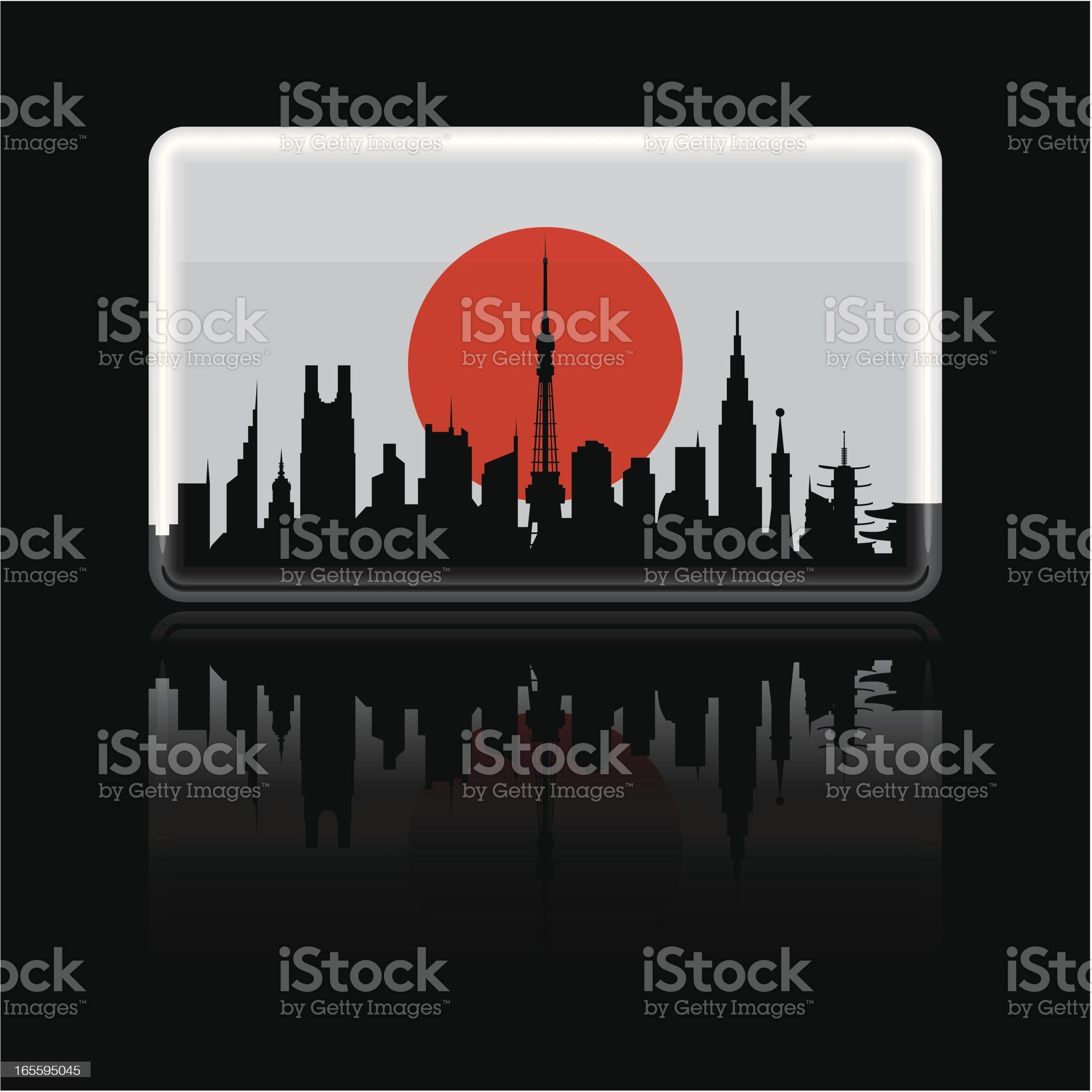 Japanese Flag on Black royalty-free stock vector art