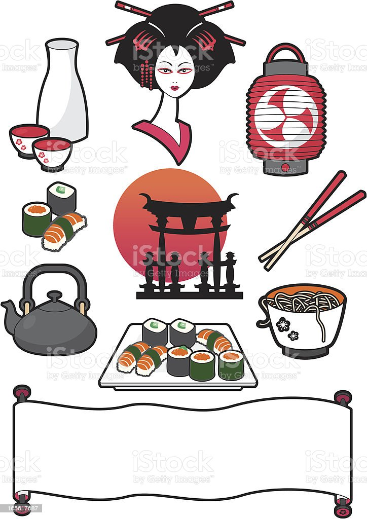 Japanese food and elements royalty-free stock vector art