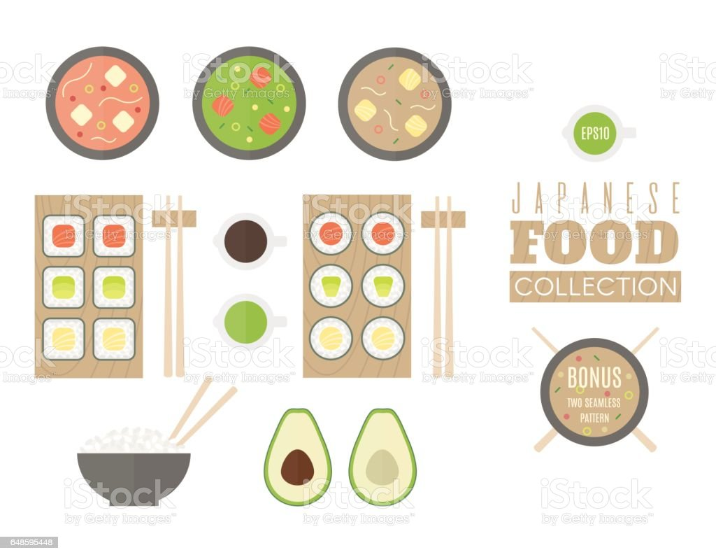 Japanese food collection. Set includes two seamless patterns. vector art illustration