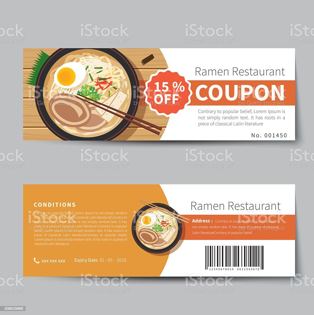 Japanese food coupon discount template flat design stock for Free meal coupon template