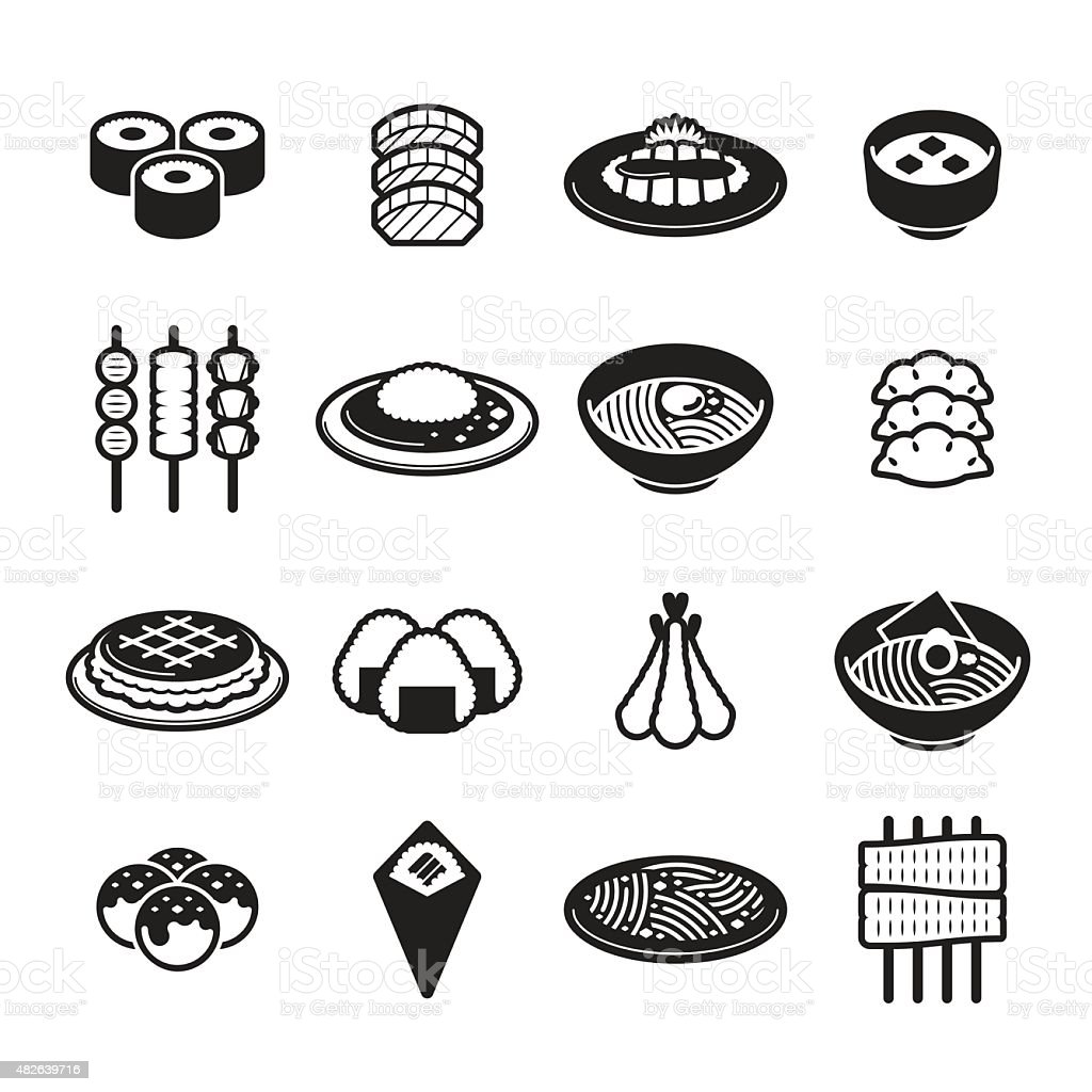 Japanese Food Icons vector art illustration