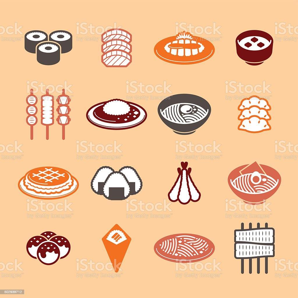 Japanese Food Icons vector art illustration