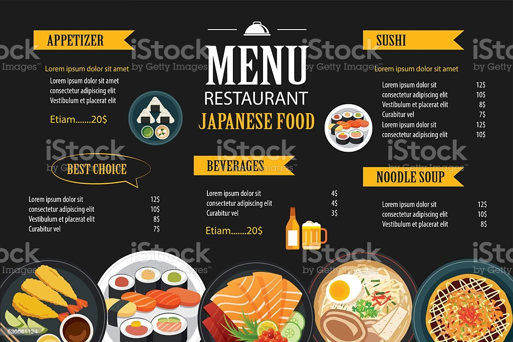 japanese food menu restaurant brochure design template vector art illustration
