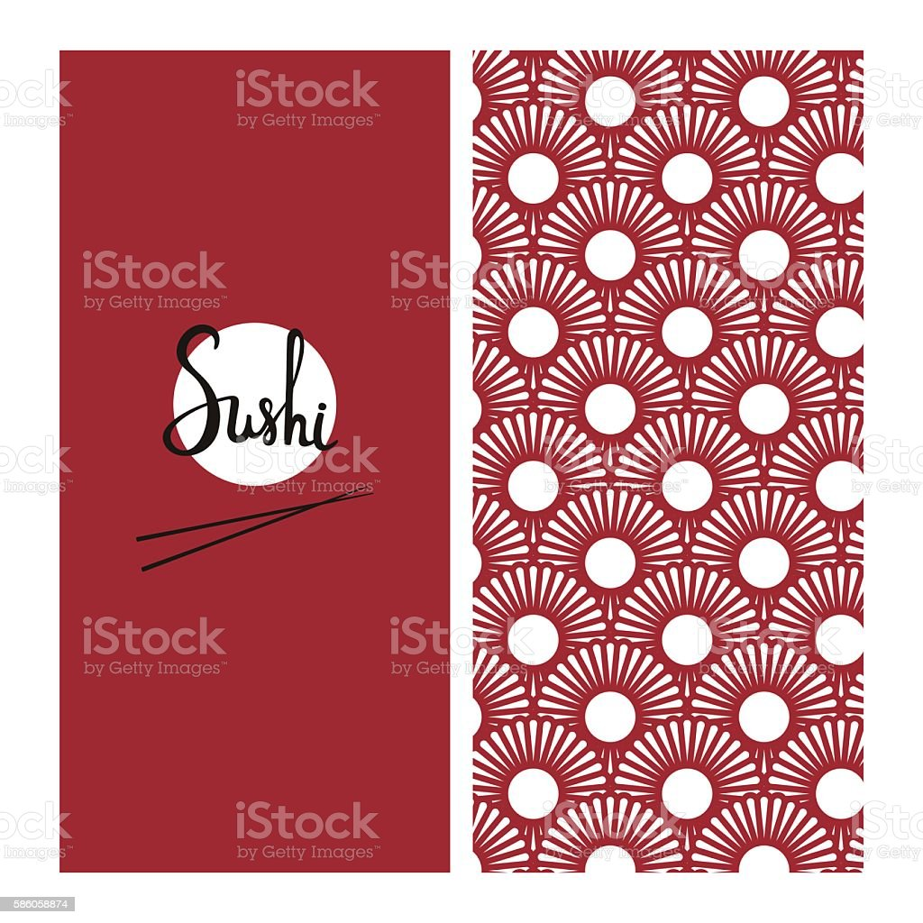 Japanese food menu template with seamless pattern on background. Good vector art illustration