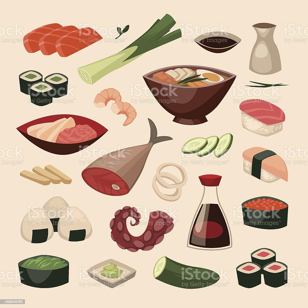 Japanese food. Objects set vector art illustration
