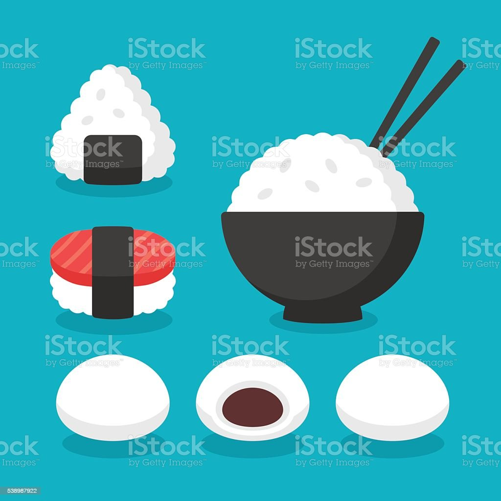 Japanese food rice dishes vector art illustration