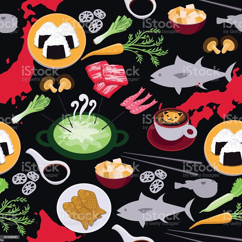 Japanese food seamless pattern vector art illustration