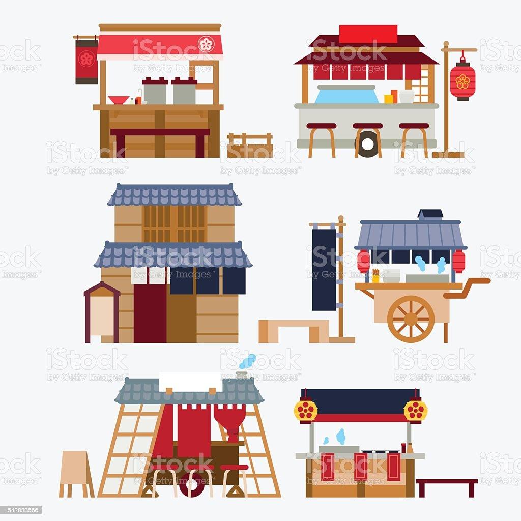 Japanese food stalls/Yatai vector art illustration