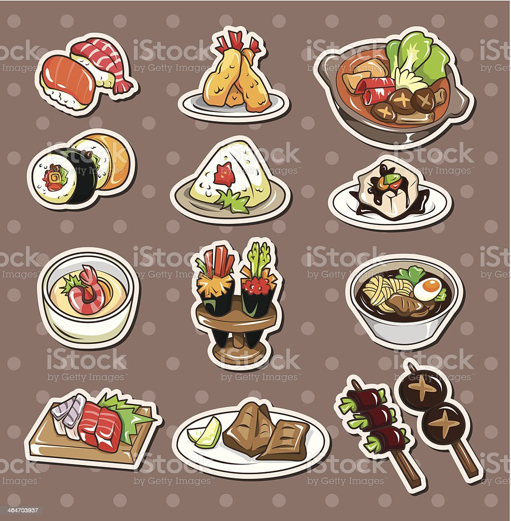 Japanese food stickers vector art illustration