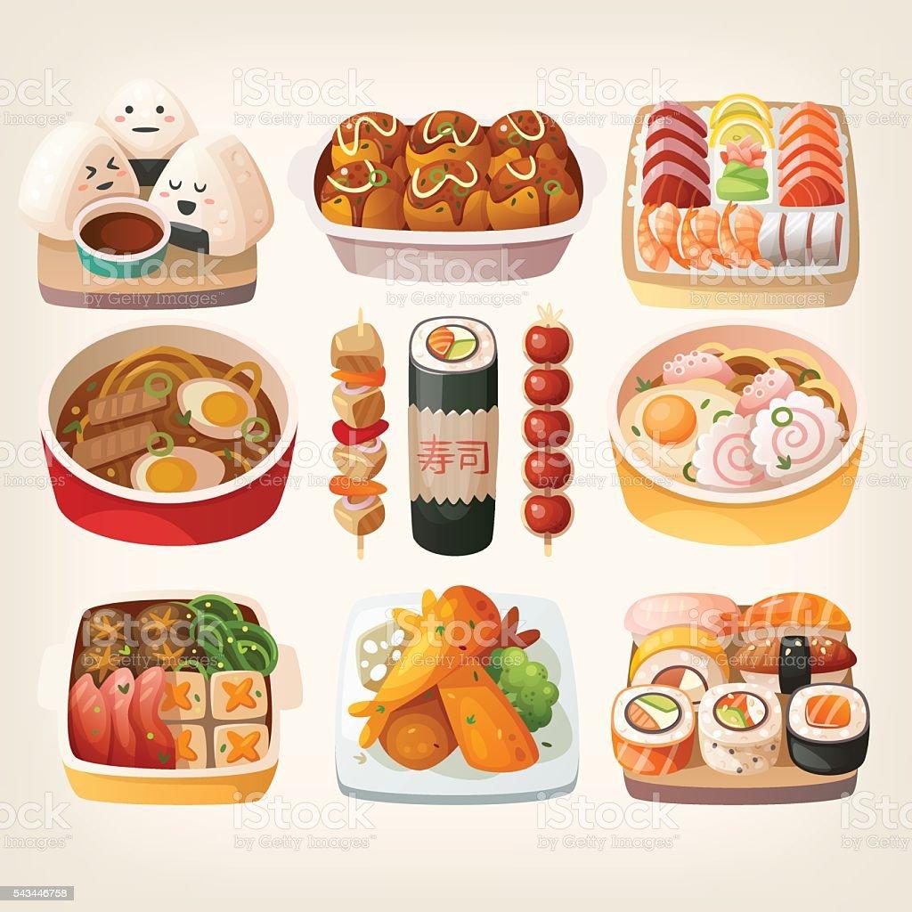 Japanese food stickers. vector art illustration