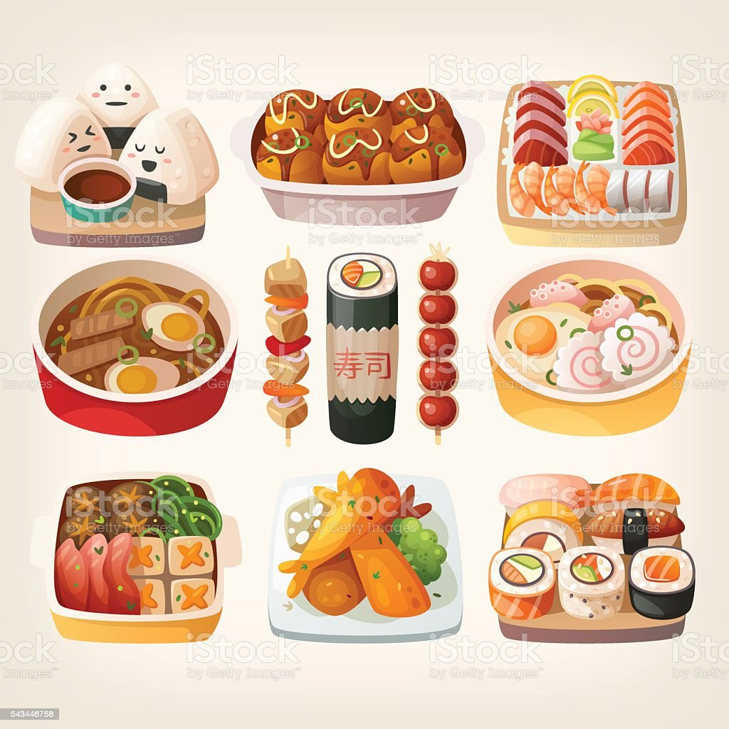 Japanese food stickers. vector art illustration