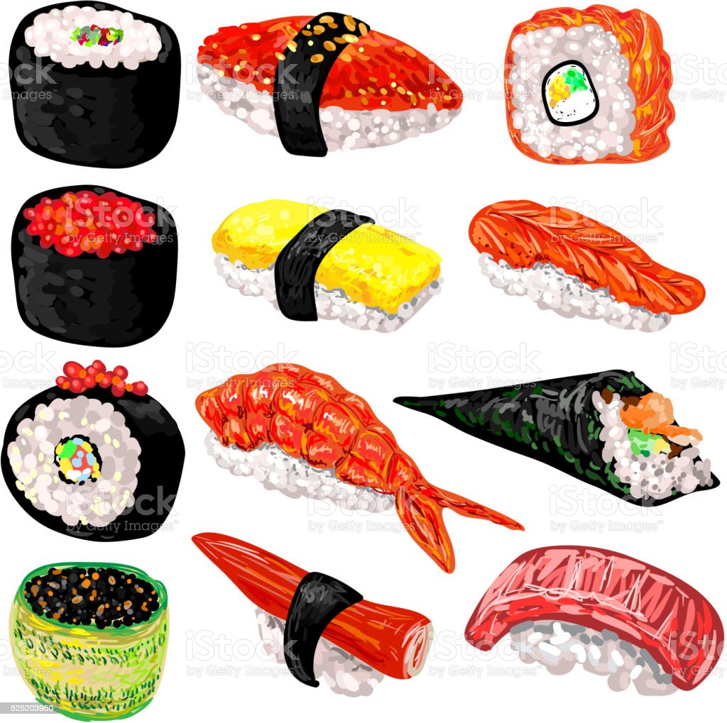 Japanese food sushi and rolls set vector art illustration