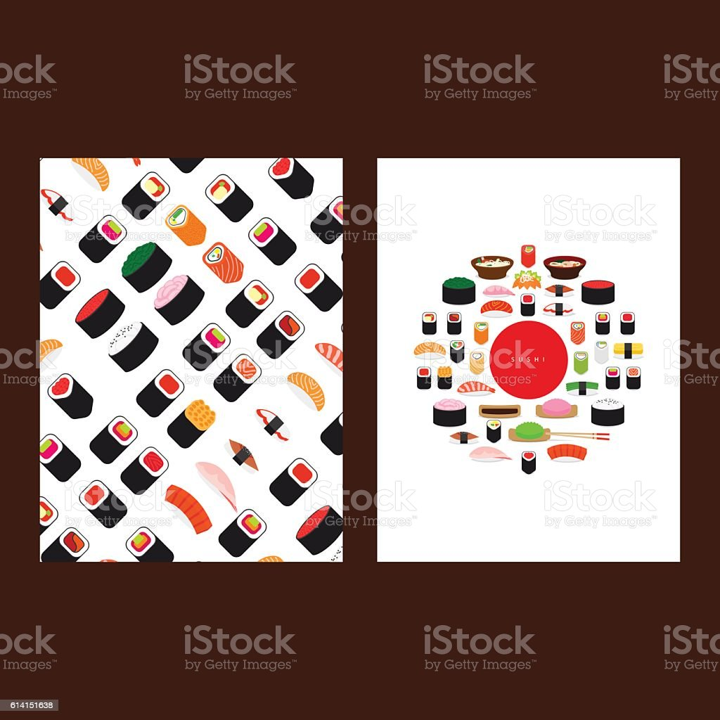 Japanese food sushi menu cover vector art illustration