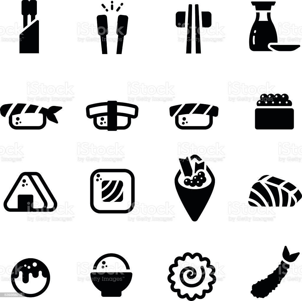 Japanese Food Sushi Sashimi Salmon Tempura Vector Icon Set vector art illustration