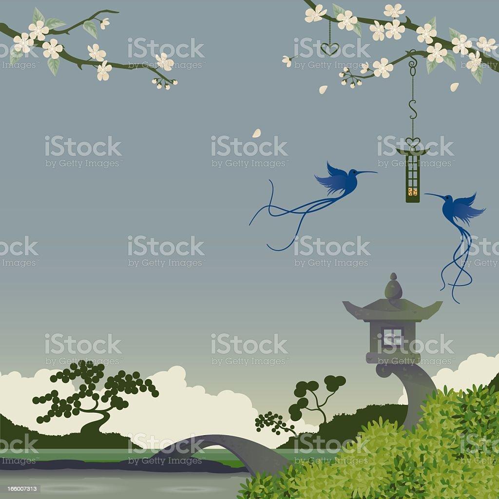 Japanese Garden vector art illustration